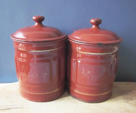 French Kitchen Canisters: 2 Vintage French Enamel Canisters Antique Canister