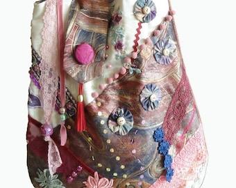 Tote bag retro baroque, boho bag, handmade, embrodery, ooak made in France  designer bag