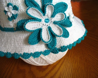 Children's Crochet Hat in Teal and White with Flowers
