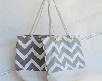Chevron Tote, Recycled sail, Vegan purse, eco bag, sail cloth, sail bag