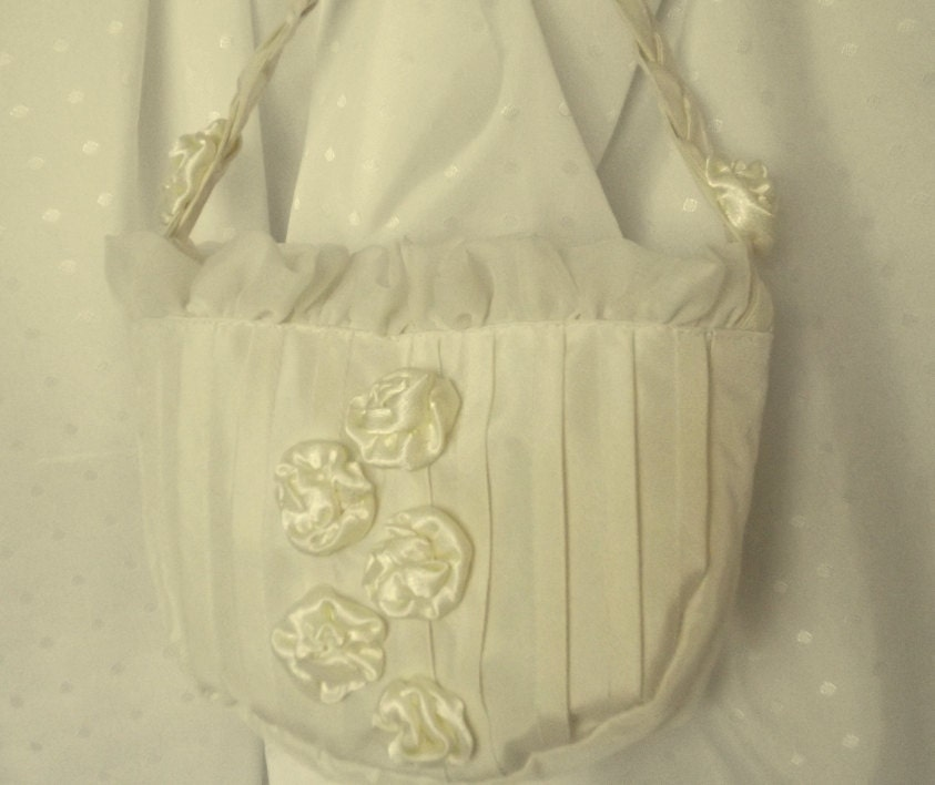 How To Make A Flower Girl Basket With Fabric : Flower girl basket ivory fabric purse wedding bag with
