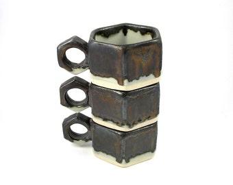 Espresso Cup trio in Glacier Blue and Black Gold bronze