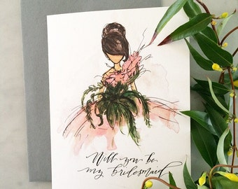 Will you be my Bridesmaid Blank Greeting Card A2