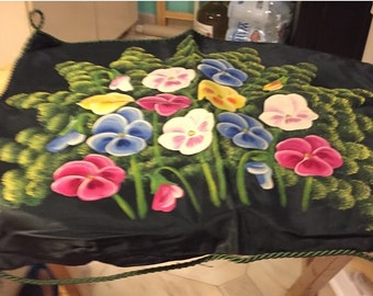 Hand Painted Floral Pillow Cover