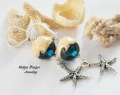Earrings sterling silver, sea earrings, earrings handmade lampwork, earrings dangle, earrings starfish, dangle earrings, drop earrings