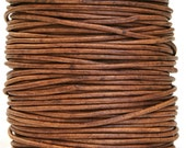 Round Leather Cord  2 mm Diameter Natural Light Brown (Length: 14 feet)