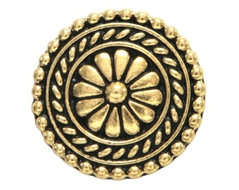 6 TierraCast Bali 11/16 inch ( 18 mm ) Gold Plated Pewter Buttons
