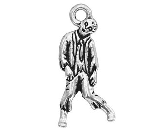 3 TierraCast Zombie 1 inch ( 26 mm ) Silver Plated Pewter Charms