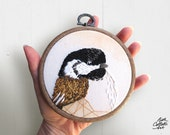 Chickadee Embroidery Hoop Art, Bird Artwork, Woodland Christmas Decor, Cabin Wall Art, Woodland Art, Chickadee Ornament, Winter Decor, Maine