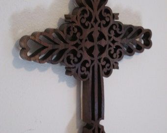 Solid Fretwork Walnut Cross