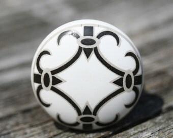 Ceramic Drawer Knob Drawer Pull Black And White Drawer Pull Furniture Knob Black And White Ceramic Pull Drawer Knob Drawer Handle