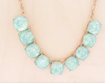 blue statement necklace, Blue necklace, blue statement necklace, blue pendant necklace, sparkly necklace, rhinestone necklace, bib necklace