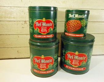 Set of Four Vintage Del Monte Advertising Promotional Canister Tins