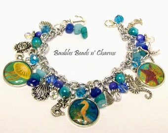 Beach Charm Bracelet, Under the Sea Charm Bracelet, Sea Life Charm Bracelet, Ocean Charm Bracelet, Beach Jewelry, Beach Charm Necklace