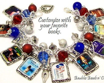 Your Favorite Books Charm Bracelet,  Personalized Book Charm Bracelet, Custom Books Charm Bracelet, Literary Charm Bracelet