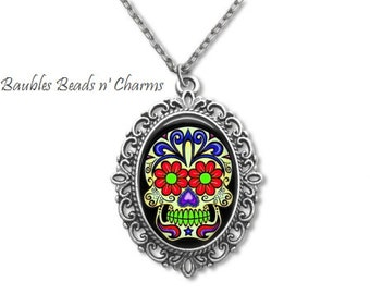 Sugar Skull Necklace, Day of the Dead Necklace, Skull Jewelry, Sugar Skull Jewelry, Day of the Dead Jewelry, Sugar Skull-3 Necklace