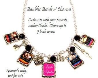 Your Favorite Books Charm Necklace, Authors Book Charm Necklace, Personalized Book Charm Necklace, LIterary Necklace Jewelry, Writers  Gift