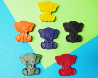Elephant crayons - Birthday Gift - Party Favour - Set of 6 - Circus Birthday - Elephant Gift - Childrens Party Gift