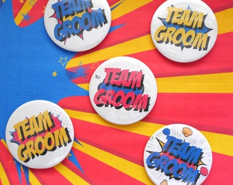 Team Groom - Wedding Badge - Stag Night - Super Powers - Wedding Party - Superhero - Comic Book -  Geek Hen Party - Boutonniere  Alternative