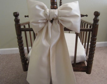 Large Bassinet Bow: large crib bows, baby bedding, crib bedding, faux dupioni silk bows, Custom Made to Order