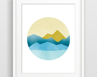 Mountain Art, Mid Century Modern Art, Gift for Him, Outdoorsman Gift, Hiking Gift, Blue Abstract Art, Nature Wall Art Print, Minimalist Art