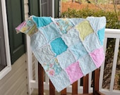 Baby Rag Quilt- Ready to ship Rag Quilt, pink rag quilt, blue rag quilt, baby shower gift, baby girl rag quilt, one of a kind rag quilt