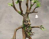 Reserved for Lisa//Nottingham Troll Tree Ent with Silver Swarovski Jeweled Pear with Gold leaf OOAK art doll tree spirit