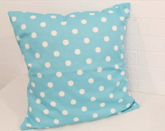 "17x17"" Blue and White Polka Dot Pillow Cover"