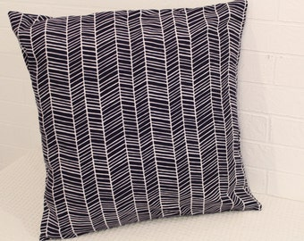 "17x17"" Navy and White Herringbone Pillow Cover"