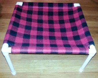 The Pet Hammock - Fleece Fabric - Red and Black Plaid pattern