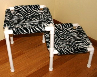 2 Tier Animal Print Pet Bed - Faux Fur - Zebra