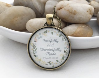 Psalm 139:14 Fearfully wonderfully made glass pastel flower pendant necklace antique bronze silver round Scripture jewelry Bible verse blue