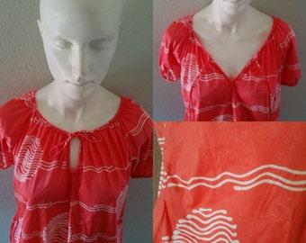 Vintage 70s 80s shimmery tangerine silky loose summer top keyhole free fit hippie boho beach wear fest festival