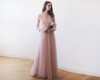 Pink maxi tulle gown with long sleeves , Pink bridesmaids maxi gown 1066