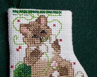 Kitty Ready to Fill Counted Cross Stitch Stocking Ornament