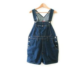 Vintage 90s ESPRIT Blue Denim Overall Shorts - Size Medium