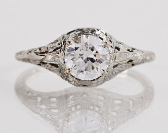 Antique Engagement Ring - Antique Arts and Crafts 18K White Gold Diamond Engagement Ring