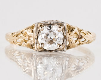 Antique Engagement Ring - Antique 1920s 14k Yellow & White Gold Diamond Engagement Ring