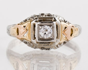 Antique Engagement Ring - Antique Arts and Crafts Era Tri-Gold Diamond Engagement Ring