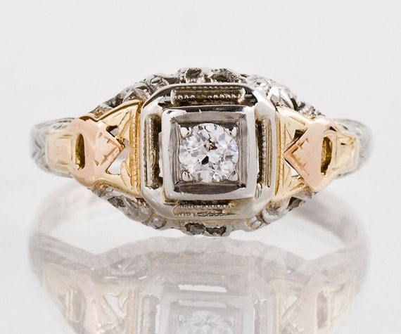 Antique Engagement Ring - Antique Arts and Crafts Era Tri-Gold Diamond Engagement Ring