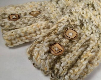 Ivory, Caramel, Lt Brown Chunky Crocheted Wrist Warmers - Almond ~ Keep Warm in Style this Winter