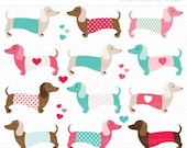 ON SALE - Valentines Day Dogs / Puppy Love / Dachshund Digital Clipart - Instant Download