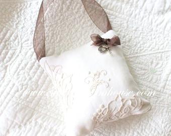 Vintage Linen, Handmade Stuffed Hanging Pillow, Home Decor, Housewarming Gift Inspiration, Gifts for Her