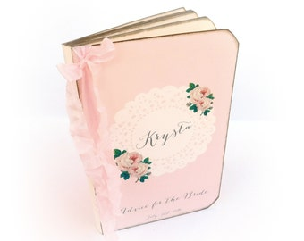 Personalized Advice for the Bride Book, Shabby Pink, Romantic, Cottage Chic Bridal Shower Guest Book by Istria Design