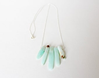 chrysoprase and sterling silver necklace *falling water*