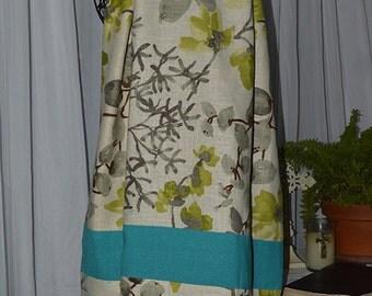 Linen Prayer Shawl ~ Oriental Flare~ Turquoise, Cream & Lime Green