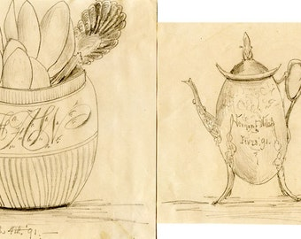 2 Charming Folk Art 1891 Original Signed Pencil Drawings: Teapot and Kitchen Container with Spoons OOAK