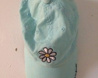 baby blue life is good daisy baseball cap