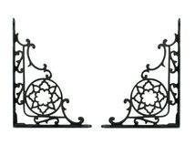 Vintage Reclaimed Black Cast Iron Shelving Brackets // Vintage Black Metal Shelving Brackets // Art Nouveau Cast Iron Shelving Bracket Pair