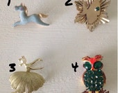 RETRO Mid Century PINS: Horse Ballerina Fish Owl Brooches, CHOOSE your Pin Brooch! Buy 1 or All 4